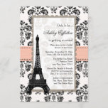 Parisian Coral Peach Bridal Shower Invitations