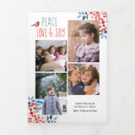 Peace love and joy, coral Christmas holiday photo Tri-Fold Holiday Card