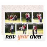 Peach and black New Year Cheer six photo collage Card