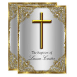 Pearl Damask Cross Baptism Silver Gold Card