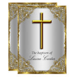 Pearl Damask Cross Baptism Silver Gold Invitation