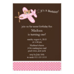 Pink Airplane Girl's Birthday Invitation