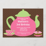 Pink & Brown Tea Party Birthday Party Invitation