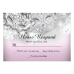 Pink & Silver Sparkle Masquerade RSVP Reply Card