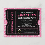 Pink/ Black Bachelorette Party Ticket Invitation