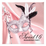 Pink Black Sweet 16 Masquerade Party Invitation