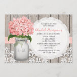 Pink Hydrangea Monogrammed Mason Jar Bridal Shower Invitation