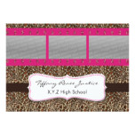 pink leopard print photo film strip Graduation Card