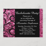 Pink Sparkly Swirl Bachelorette Party Invitation