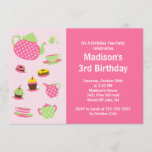 Pink Tea Party Birthday Party Invitation