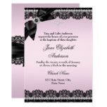 Pretty Chic Diamond Lace Pink Baptism Invite