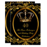 Prince King Gold Royal Black Crown Birthday 3 Invitation