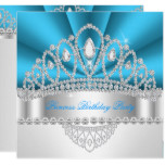 Princess Blue White Diamond Tiara Birthday Party Card