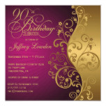 Purple & Gold 90th Birthday Party Invitation