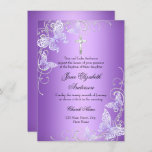 Purple Swirl Butterfly & Cross Baptism Invite