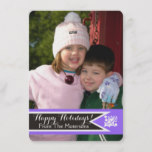 Purple, white Christmas holly berry photo card
