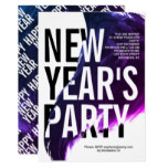 Purple, white watercolor New Year's 2019 Eve party Invitation
