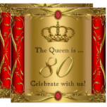 Queen or King Regal Red Gold 80th Birthday Party Card