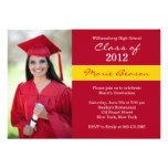 Red and Gold Graduation Invitation Class of 2012