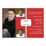Red and White Retro Photo Graduation Invitation