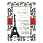 Red Eiffel Tower Parisian Bridal Shower Invitation