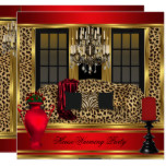 Red Housewarming Party Chandelier Leopard Gold Card