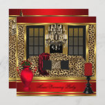 Red Housewarming Party Chandelier Leopard Gold Invitation