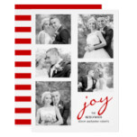 Red joy newlyweds five photo collage Christmas Card