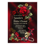 Red Roses and  Skull Gothic Bridal Shower Card