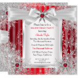 Red Snowflake Silver Bow Winter Wonderland Party Card