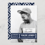 Retro Blocks Navy White Graduation Announcement