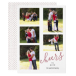 Rose gold cheers to 2018 photo collage trendy card