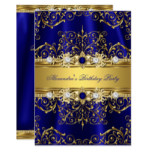 Royal Blue & Gold Damask Elegant Birthday Party Card