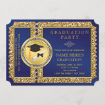 Royal Blue and Gold Graduation Invitation
