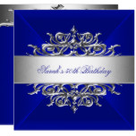 Royal Blue On Silver 50th Birthday Party Card