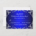 Royal Blue Silver Pearl Damask Sweet 16 RSVP