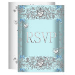 RSVP Teal Blue Damask Wedding White Diamond Hearts Card
