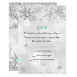 RSVP Teal Blue Winter Wonderland Birthday Card