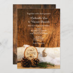 Rustic Birch Tree and Barn Wood Wedding Invitation