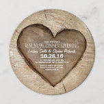 Rustic carved tree wood heart rehearsal dinner invitation
