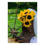 Rustic Sunflowers and Cowboy Boots Bridal Shower Card