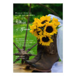 Rustic Sunflowers Cowboy Boots Country Wedding Card