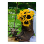 Rustic Sunflowers Cowboy Boots Country Wedding Invitation