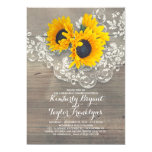 Rustic Sunflowers Wood Lace Rehearsal Dinner Invitation