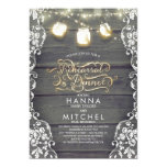 Rustic Wood Lace Mason Jar Lights Rehearsal Dinner Invitation
