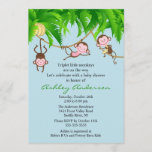 Safari Triplet Monkeys Baby Shower Invitation