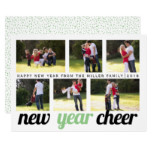 Sage green and black New Year Cheer photo collage Card