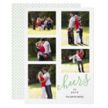 Sage green cheers to New Year 2018 photo collage Card