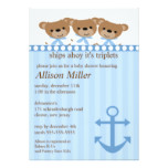 Ships Ahoy It's TRIPLET'S Baby Shower Card