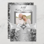 Silver Jewel Bow & Floral 25th Wedding Anniversary Invitation